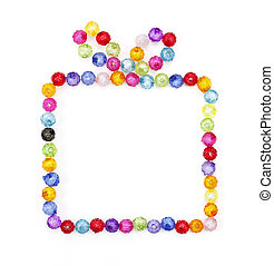 gift box made of colorful beads  on white background