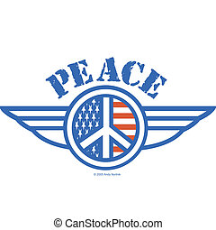 Peace Sign Symbol American Flag