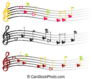 music notes of Love - music notes love three combinations of...