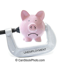 bank vice - Sad piggy bank being squeezed in Unemployment...