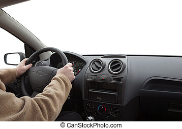 Man driving car on against white background