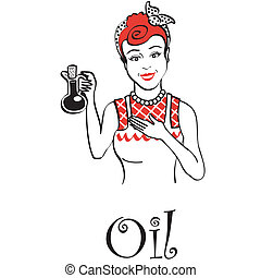 Retro Vintage Oil And Vinegar Sign - Retro or vintage woman,...