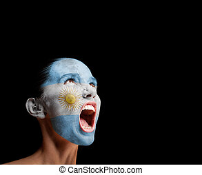 The Argentine flag on the face of a screaming woman. concept