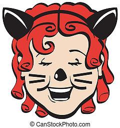 Cartoon Girl In Halloween Costume