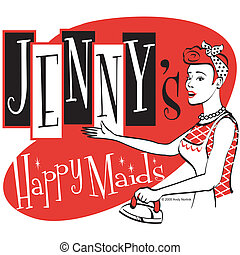 Retro Vintage Maid Sign Clip Art - Retro or vintage maid...