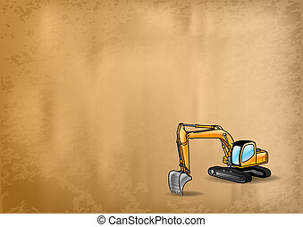 dozer - big dozer on the old paper texture