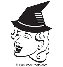 Halloween witch retro clip art