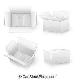 set of white carton boxes on white