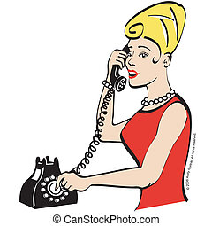 Vintage woman talking on telephone or phone clip art