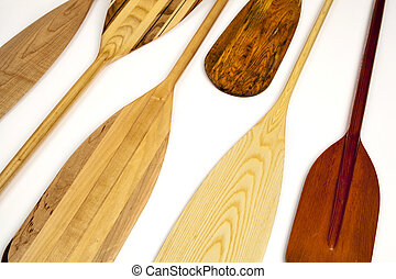 canoe paddle abstract - blades of wooden canoe paddles,...