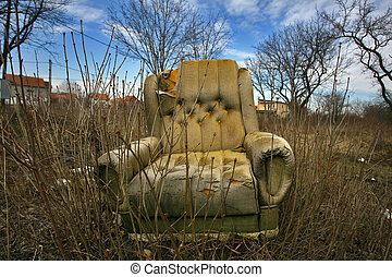 an old armchair in the nature