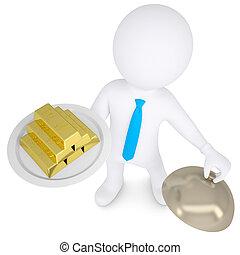 oro, Oro y plata en metálico, hombre, Se conserva, blanco, fuente,  3D
