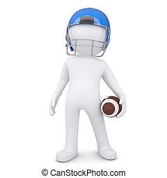 3d man in helmet holding football - 3d white man in helmet...