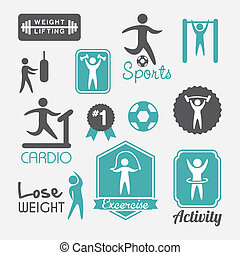 fitness vector - fitness labels over white background....