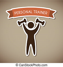 personal trainer over brown background vector illustration