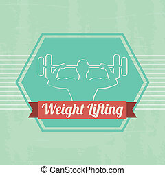 weight lifting label over green background vector...
