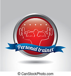 personal trainer over gray background vector illustration