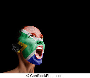 The Republic of South Africa flag on the face of a screaming...