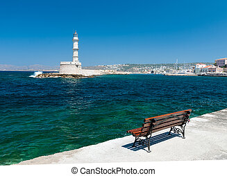 lighthouse in the city of Chania.