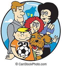 Family Mom Dad Kids Clip Art - Family of mom, dad and kids...