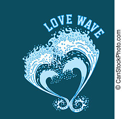 big and love wave vector art