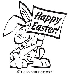 Easter bunny sign clip art