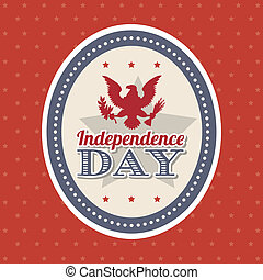 independence day illustration over red background. vector