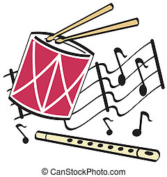 Drum and flute clip art
