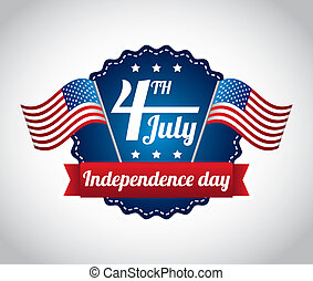 independence day illustration over gray background vector