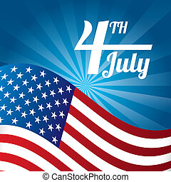 independence day illustration over blue background vector