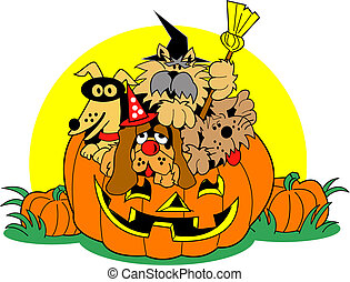 Halloween Clip Art Dogs - Halloween clip art with dogs in...