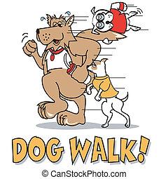 Dog Walk T-Shirt Clip Art - Dog walk T-Shirt clip art or...