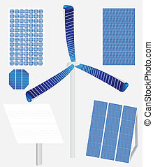 Types of solar panels - Vector illustration of different...