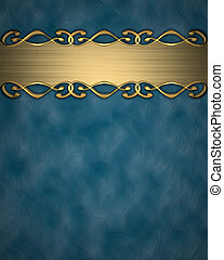 Beautiful gold plate with a pattern on a blue background