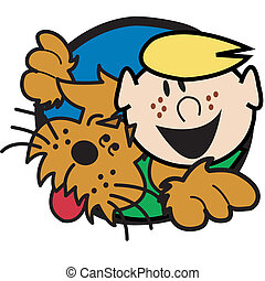 Dog With Boy Clip Art Graphic