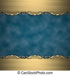 Blue background with beautiful gold ornaments at the edges