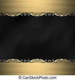 Black background with beautiful gold ornaments at the edges