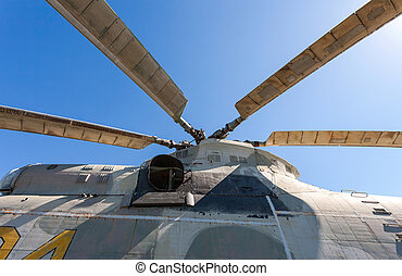 Propeller of helicopter against blue sky