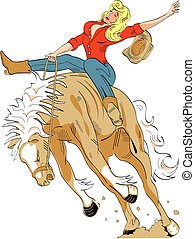 Sexy Cowgirl Riding Bronco Sign - Sexy cowgirl or bronco...