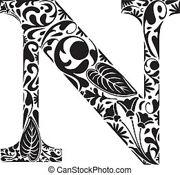 Floral N - Floral initial capital letter N
