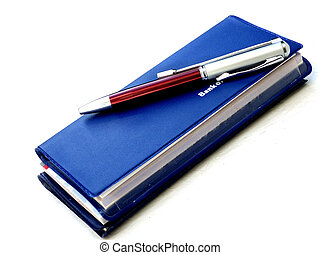 caneta, talao cheque