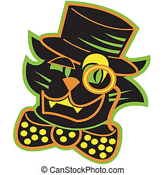 Halloween cat clip art in retro or vintage style.
