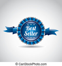 best seller award ribbon over gray background vector...