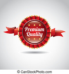 premium quality label over gray background vector...