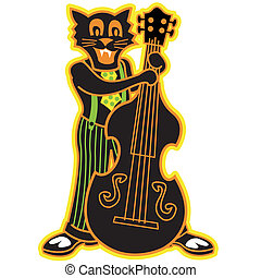 Halloween cat clip art graphic - Halloween cat in a band...