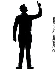 one business man poiting up happy silhouette