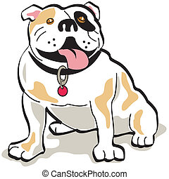 Bulldog dog clip art graphic in cartoon style.