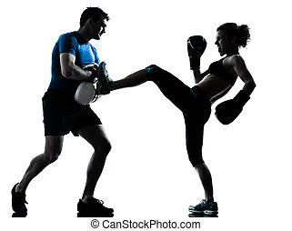 man woman boxing training - one caucasian couple man woman...