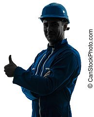 man construction worker Thumb Up silhouette portrait - one...