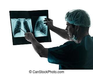 doutor, cirurgião, radiologist, examaning,...